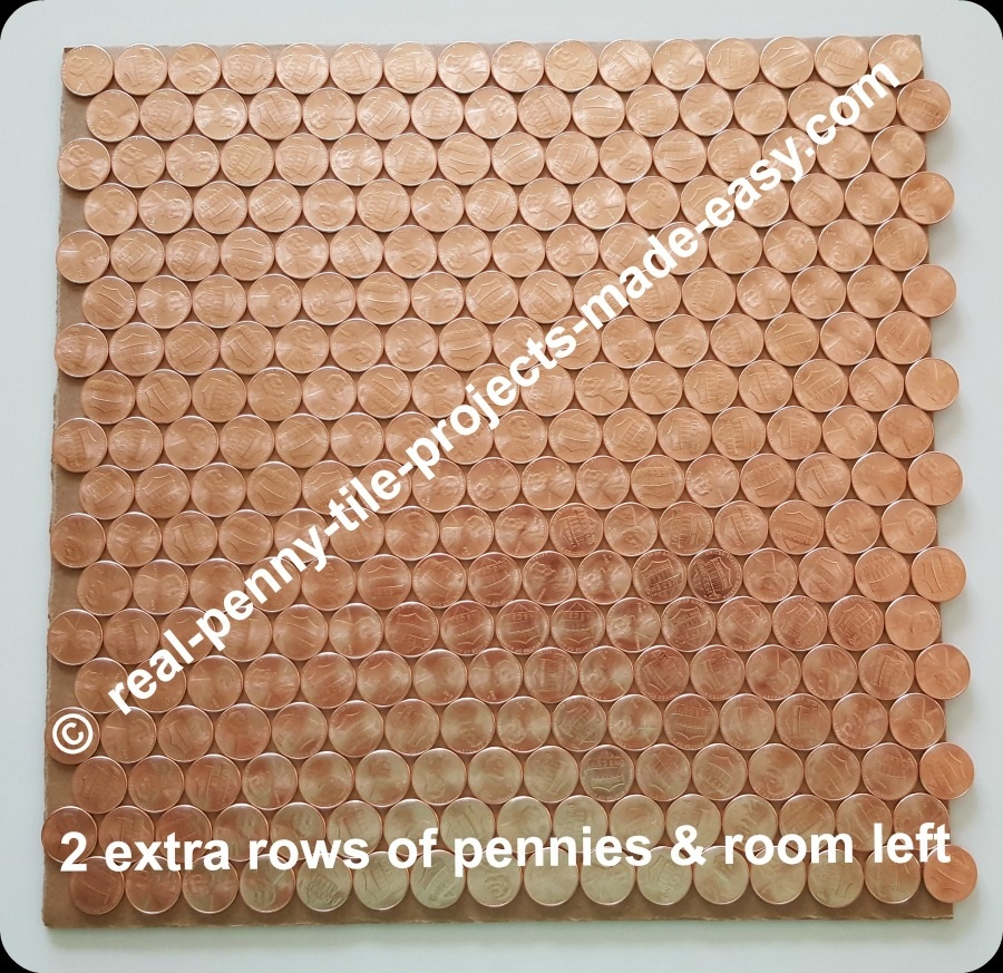 18 rows of 16 pennies each can fit in 1 SF in offset rows plus extra room left.