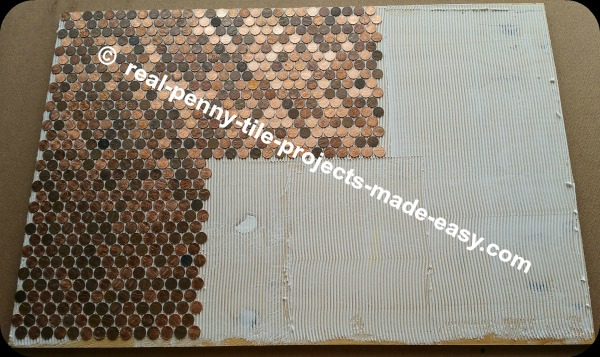 Setting/installing real penny tile sheets in thin adhesive while going for a seamless look. You should not be able to see where one sheet of pennies ends and another begins.