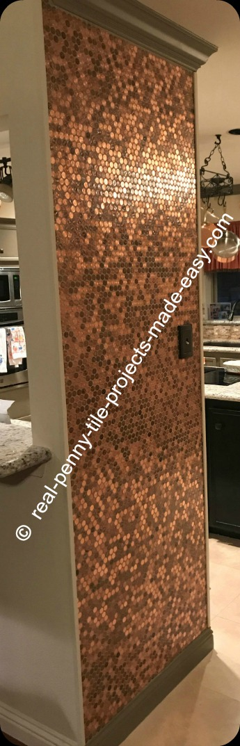Kitchen wall finished with a real penny tile installation - real random pennies attached to mesh.