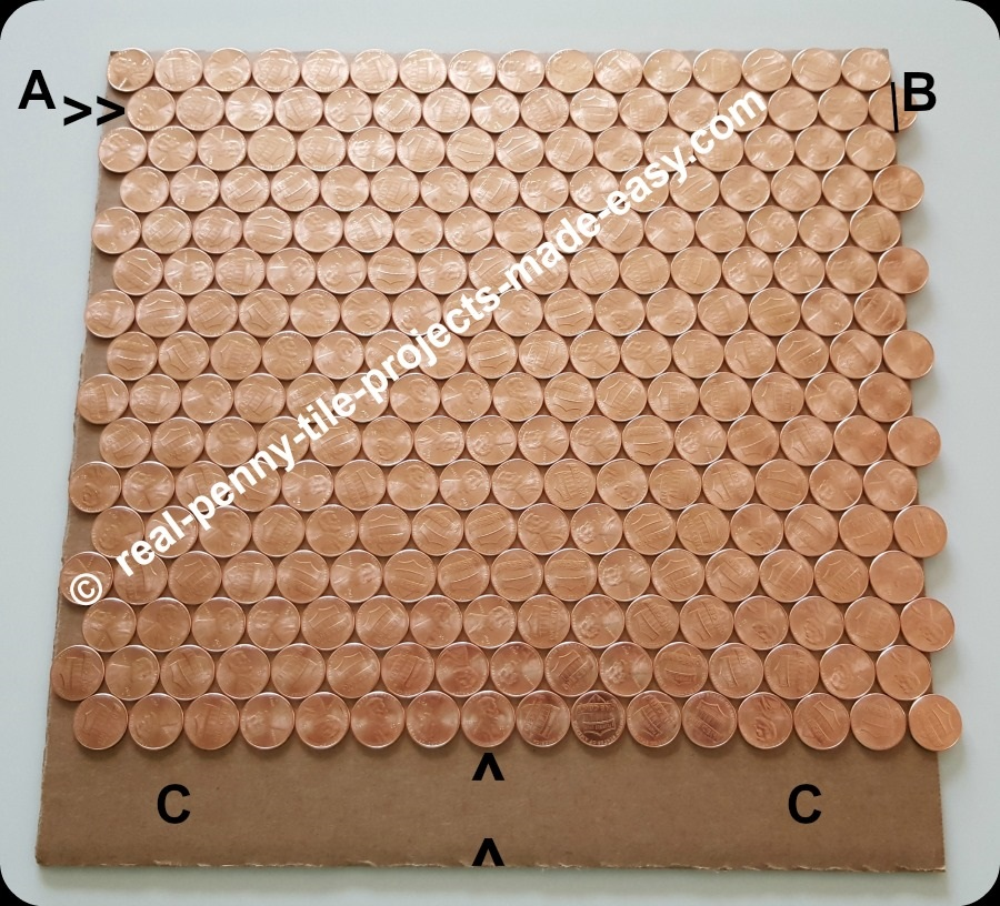 16 rows of pennies take less room in offset rows than straight rows.