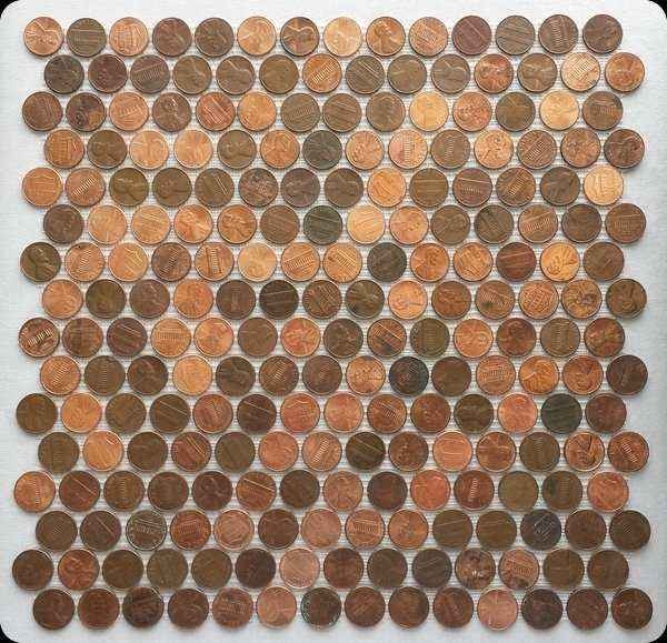 Mosaic tile made with real (copper) pennies (1 cent coins as penny tile) with double mesh backing.