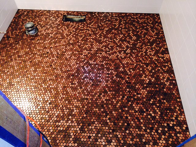 Bathroom Floor Covered With Handmade Sheets Of Pennies. This Is The  Ultimate Real Penny Mosaic Part 62