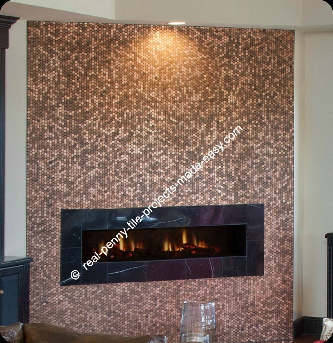 Beautiful wall covered in tile sheets of real pennies from wall to ceiling, surrounding the fireplace.
