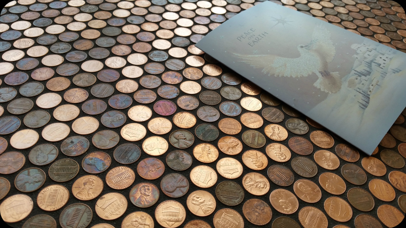 Black grout on real penny floor for Copper tile pennies