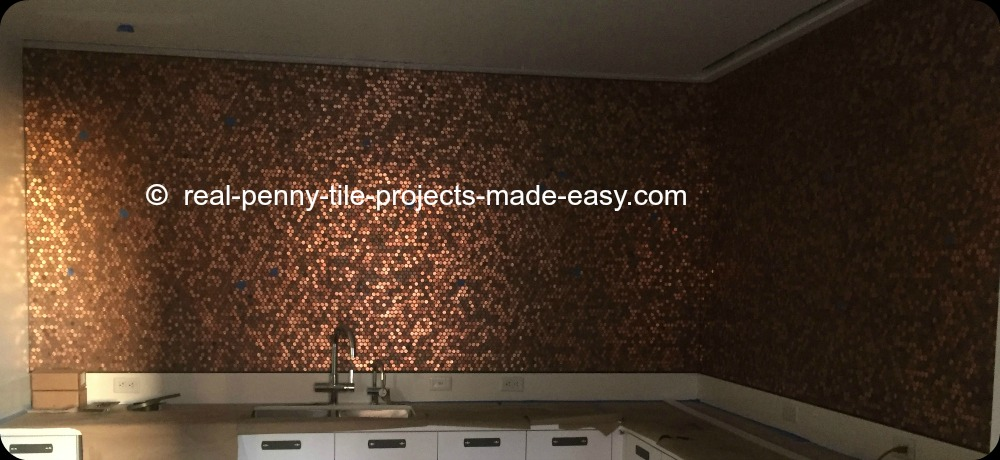 Backsplash Made With Random Pennies On Our Standard Real Penny Tile. Wall  Covered In Sheets
