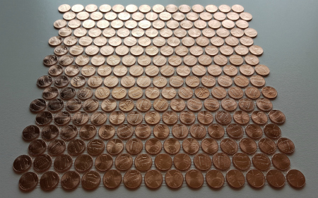 Tile sheet of shiny pennies only.