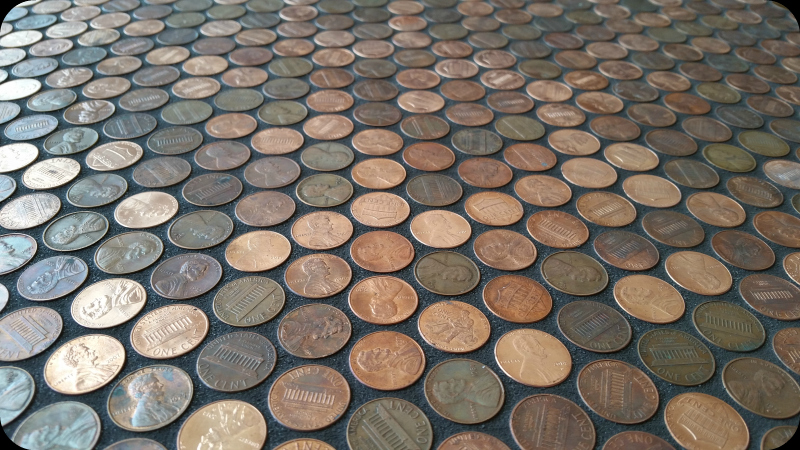 Grouted pennies on floor.