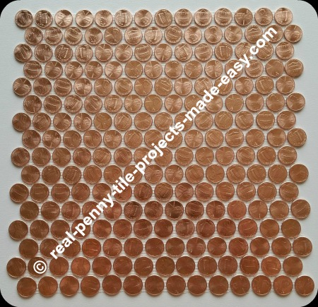 Real penny tile sheet made with 224 brand new shiny uncirculated pennies.