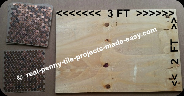 Sample of using pennies as tile to cover a floor, wall, countertop, backsplash, etc.