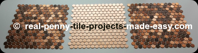 Mosaic tile sheet made with all new shiny pennies placed in between 2 sheets of random pennies.
