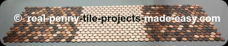 Mosaic tile sheet made with all new shiny pennies interlocked with two sheets of older random pennies.
