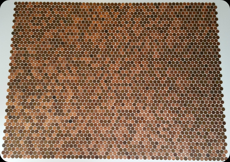 12 sheets of pennies perfectly interlocked.