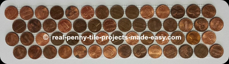4-rows of pennies on mesh as decorative penny round mosaic tiles.
