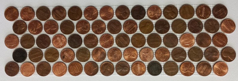 5 rows of real coin pennies as decorative tile lines.