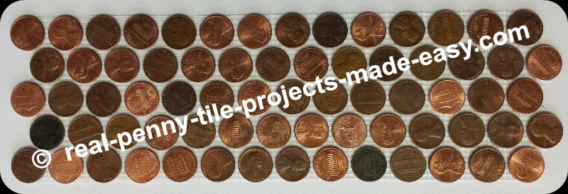 5-rows of pennies on mesh as decorative penny round mosaic coin tiles.
