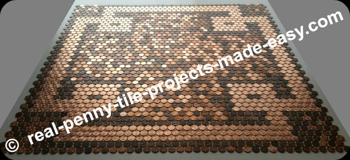 Brand new shiny pennies forming a spectacular design within our penny tile sheets made with real random pennies.