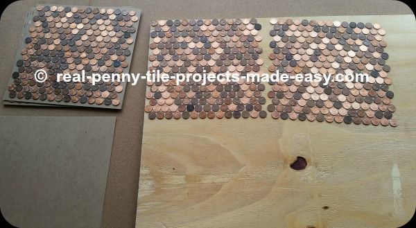 Installing pennies as mosaic tile on floor/wall - sample.