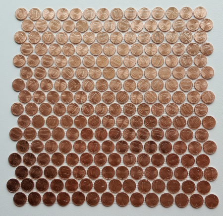 Tile sheet made with brand new shiny uncirculated pennies only.