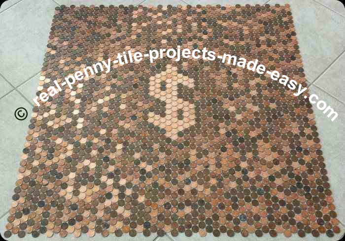Nine tile sheets of real pennies with dollar sign made with new shiny pennies on mesh.