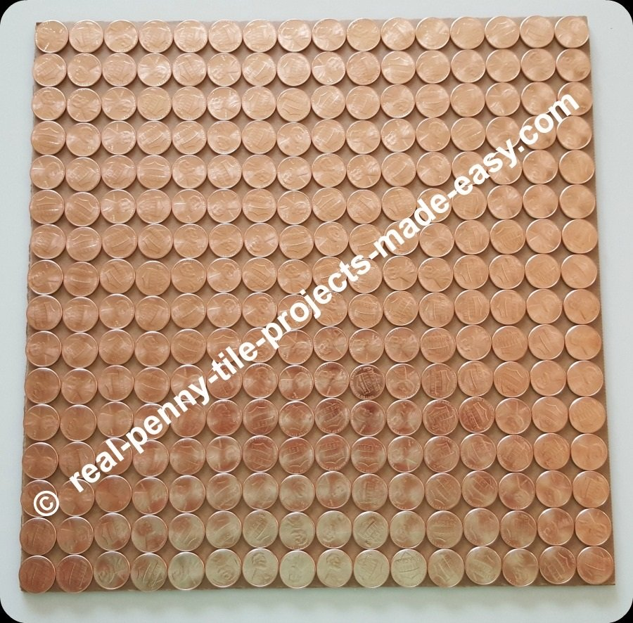 Square foot cardboard filled with 256 pennies in straight rows.
