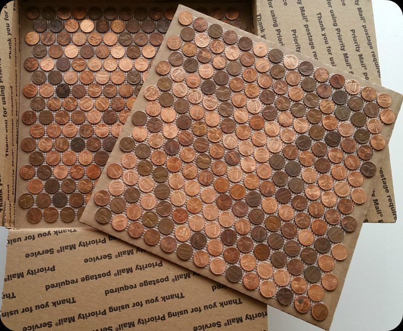 Tile sheets of pennies that can be installed on floors, walls, counter tops, backsplash and more.