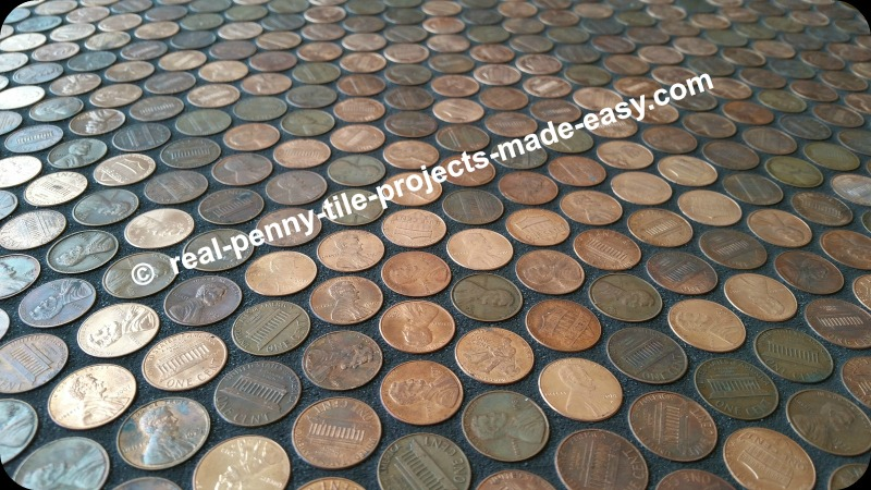 Black grout on real penny tile (pennies).