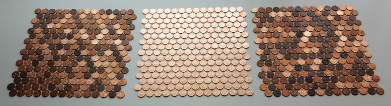 Mosaic tile sheet made with all new shiny pennies placed in between 2 standard sheets of random pennies.