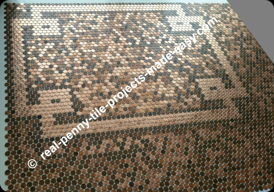 Penny tile sheets can be installed all around the loop design made with new shiny uncirculated pennies.