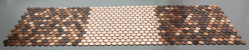 Mosaic tile sheet made with all new shiny pennies interlocked with two standard sheets of older random pennies.